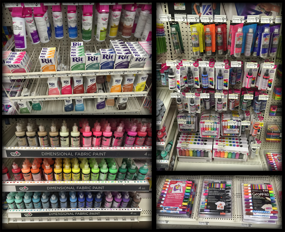 Clothing paint and dyes at Micheals Arts & Crafts