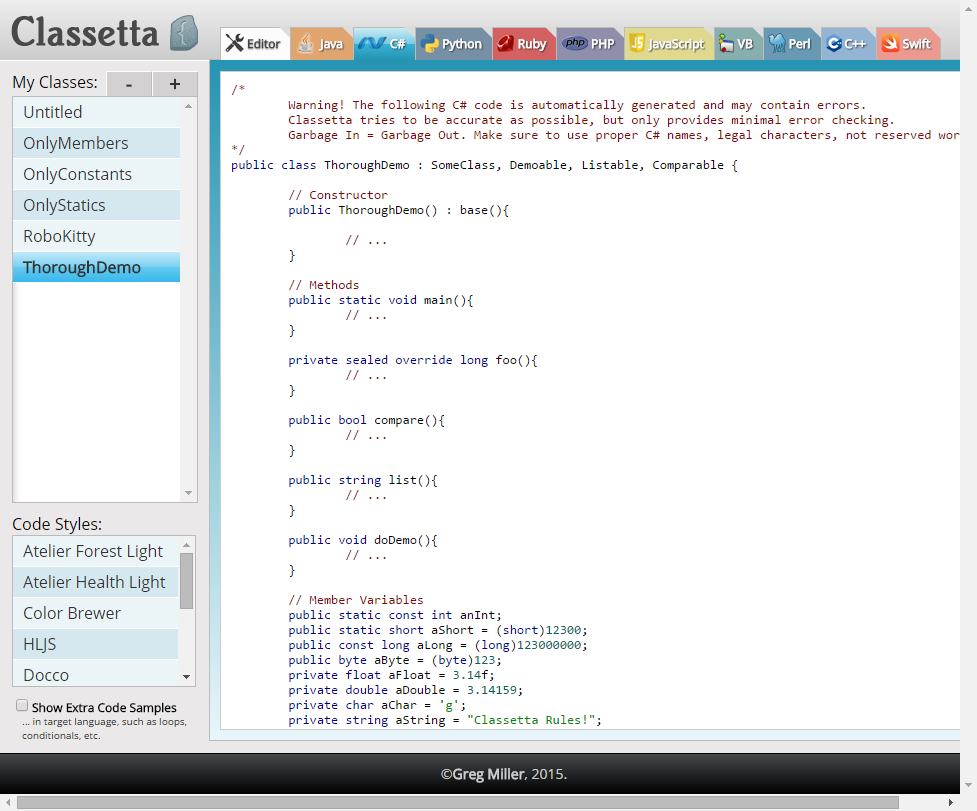 Classetta generated C# code based on the model class.